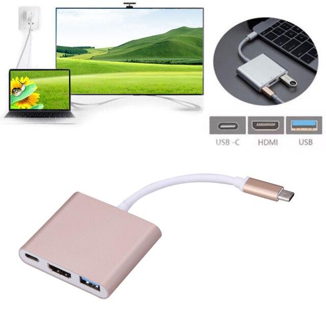 Tipo c usb 3.1 a usb3.0 + hdmi tipo c hembra adaptador de cargador 3 en 1 hub para apple macbook