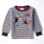 Nova marca Boy de manga larga camiseta de la historieta de los niños de la raya de carácter O-cuello regular t shirt kids ropa para niños A3146