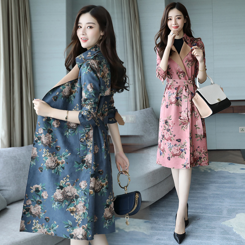 New Autumn Suede Slim printing Trench Coat female long section spring new temperament women's printed coat Blazer Trench Abrigo