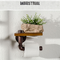 Industrial Toilet Paper Holder with Wooden Shelf Metal Wall Storage Iron Pipe Tissue Roll Hanger (Single Faced)
