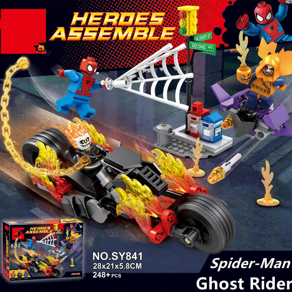 GUSUG SY841 05020 Super Heroes Spider-Man Ghost Rider Team-UP with Motorcycle Building Blocks Bricks Kids Baby Gift Toys