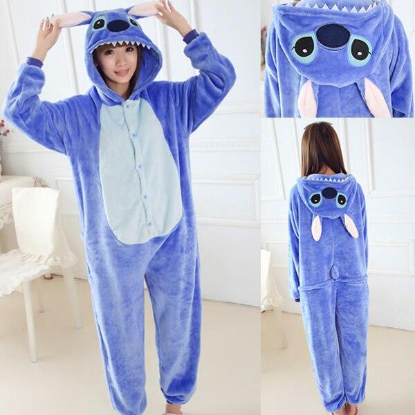 24652db11885 Adult Blue Stitch Onesies Pink Angel Lilo Cosplay Pajamas Winter Hoodie  pyjamas Christmas Halloween Cosplay Costume Jumpsuit