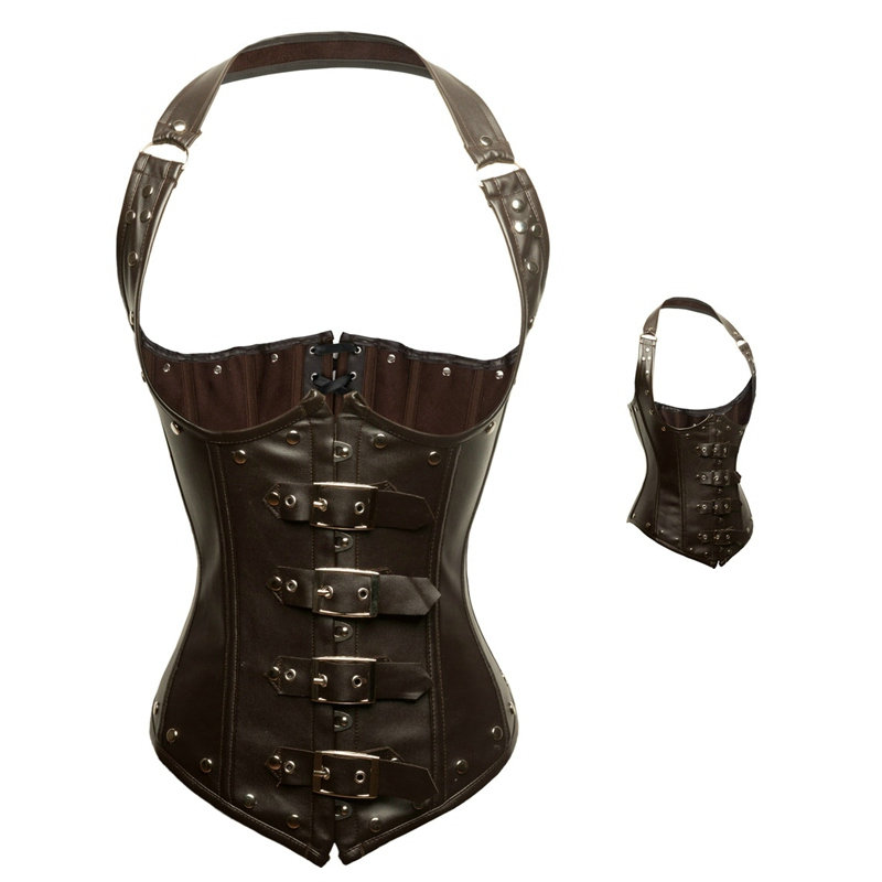 5bc96d03396 Women Halter Buckle Up Brown Faux Leather Corset Steampunk Gothic Clothing  Steel Bone Underbust Bustier Corselets Vest