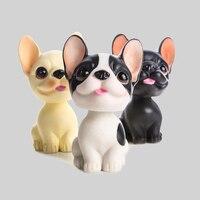 1pcs Kawaii Resin Dog Figurine Craft Supplies Black White Puppy Figurine Dolls Accessories Kids Birthday Gift