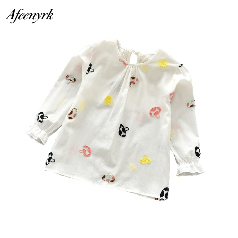 T-shirt For Girls 2018 New Girl tshirt Flower Long-sleeved White Blouse Baby Fashion Cotton Wild Shirt Kids Clothes Bobo Choses