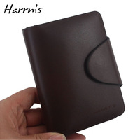 Harrms Brand Genuine Leather Fashion Solid Short Designer Luxury Genuine Leather Wallet Men 2015