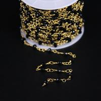 3x4mm Black Crystal Glass Faceted Rondelle Rosary Chain Metal Gold Women Sweater Chain Necklace Jewelry Making