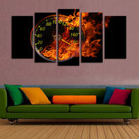 5 Panels(No Frame) Abstract Dashboard Flame Modern Home Wall Decor Fashion Clock Oil Painting For Body Building Poster Paintings