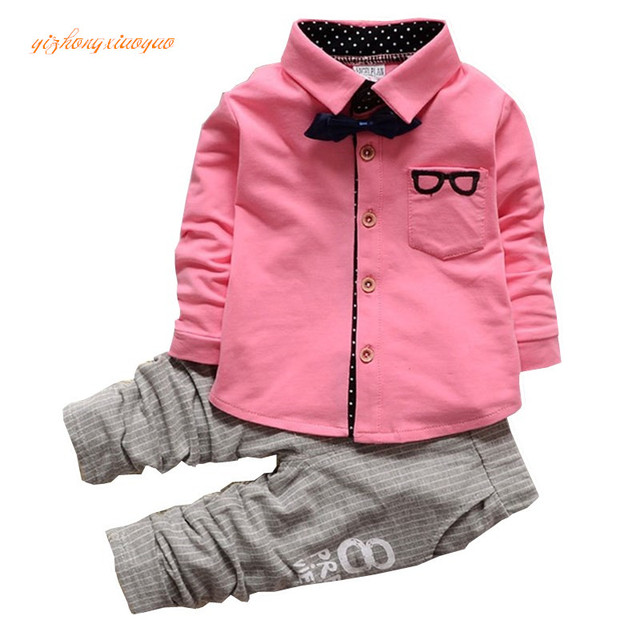 b6dc3ffed1f8 2016 Korean Baby Boy Clothing Sets children Bow tie T-shirts glasses top  pants kids cotton cardigan 2pcs boys spring sets