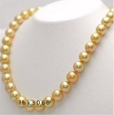 VERY BEAUTIFUL 18 INCH 10-11MM NATURAL SOUTH SEA GOLDEN PEARL NECKLACE>Selling jewerly free shipping