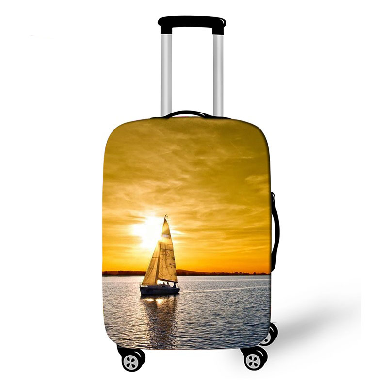 18-32 Inch Sailboat Sea Travel Accessories Luggage Cover For Girls Boys Suitcase Protective Cover Elastic Trolley Bag