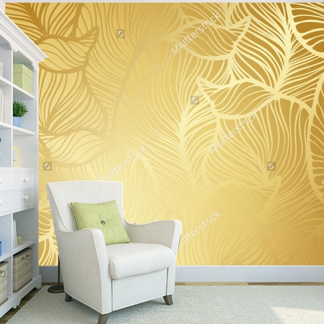 Custom gold wallpaper,Golden retro pattern,modern murals for the ...
