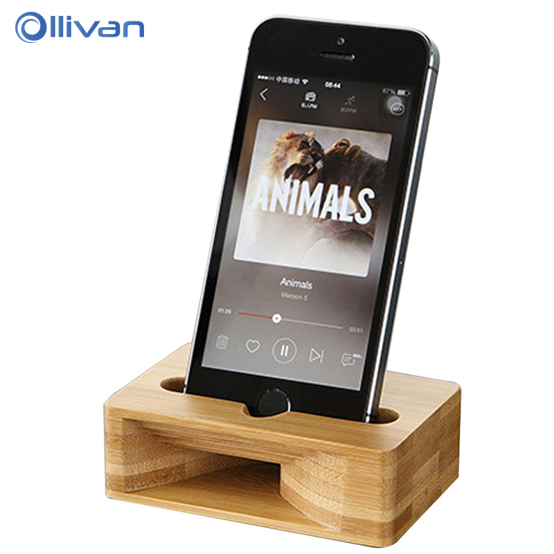 Galleria fotografica OLLIVAN Wooden Phone Stand For SmartPhone Natural Bamboo Loudspeaker Function Mobile Phone Holder for iPhone 6 6s 8 Plus 7Plus X