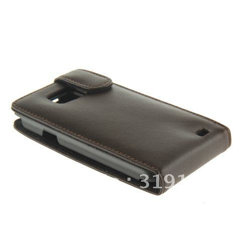 Low price 30pcs by EMS free shipping !!!  brown Genuine Leather Flip caase Cover for Samsung Galaxy i9100