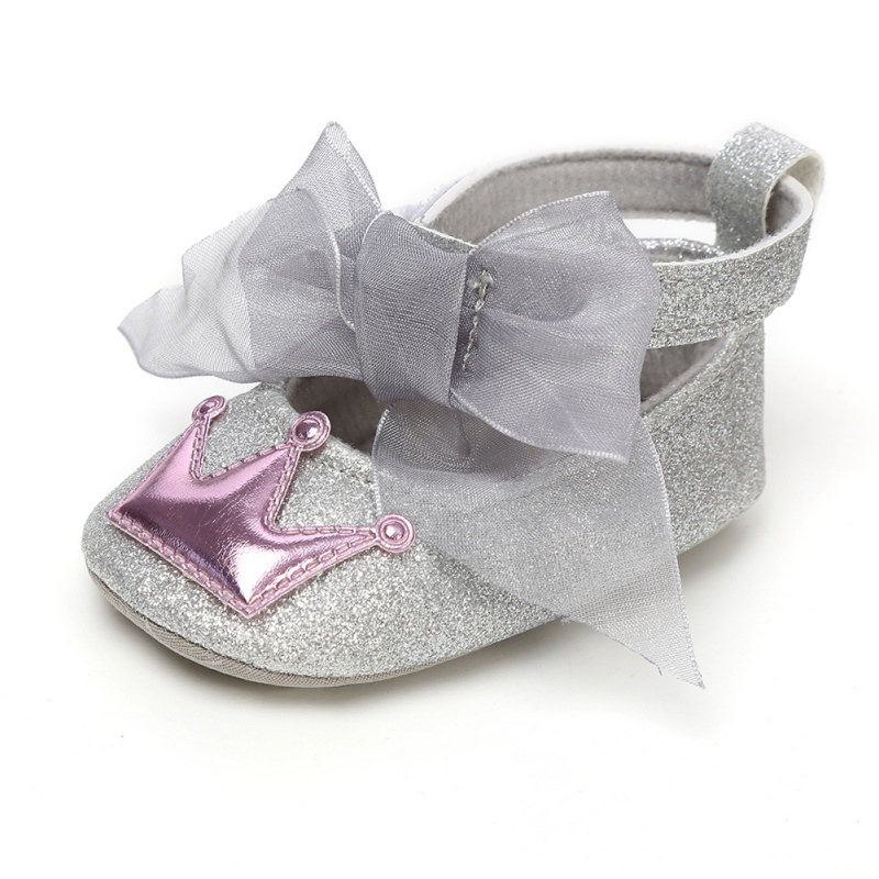 Baby Girl PU Leather Shoes Kid Moccasins First Walkers Crown Mesh Bow Soft Soled Non-slip Footwear Crib Shoes