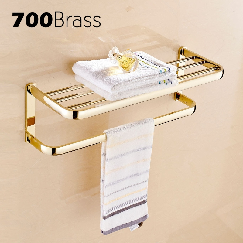 European Style Gold Romantic Bathroom Towel Rack toallero Wall Mounted Brass Double Towel Hanger Holder Bathroom AccessoriesEuropean Style Gold Romantic Bathroom Towel Rack toallero Wall Mounted Brass Double Towel Hanger Holder Bathroom Accessories