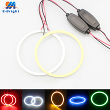1 Pair 70mm 9V-30V COB 60 SMD Colorful RGB LED Car Halo Rings Lights Angel Eyes Headlights for Universal Cars