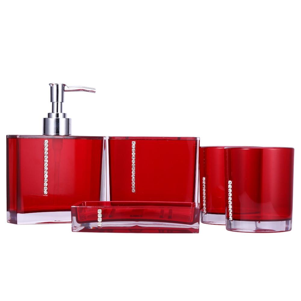 Bathroom Set Five Pieces Set of Bathroom Supplies Kits Bathroom Accessories acessorios para banheiro Red Purple White Black