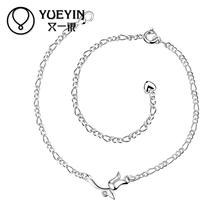 2015 New Fashion Silver Plated Clover Anklets Fine Jewelry Women Big Brand Charm Leg Pendant Foot Bracelets Christmas Gift