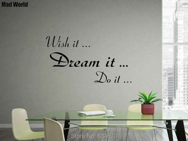 Mad World Wish It Dream It Do It Quote Wall Art Stickers Decal Home DIY