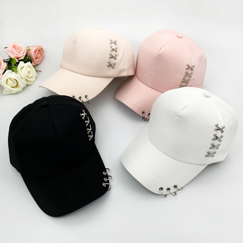 Fashion Korea Stylish Cap With Rings Solid Snapback Hip Hop Cap Hat Summer Metal Buckle Travel Sunscreen Sun Hat Baseball Cap joymay quick drying casual baseball cap breathable snapback sun hat fishing hat fashion cap b293