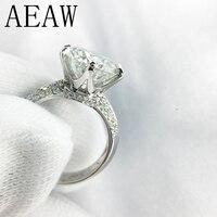 14 К 585 Белое золото 3ct синтетический бриллиант Обручение кольцо для Для женщин Fine Jewelry Центр 9 мм F Цвет Муассанит кольцо
