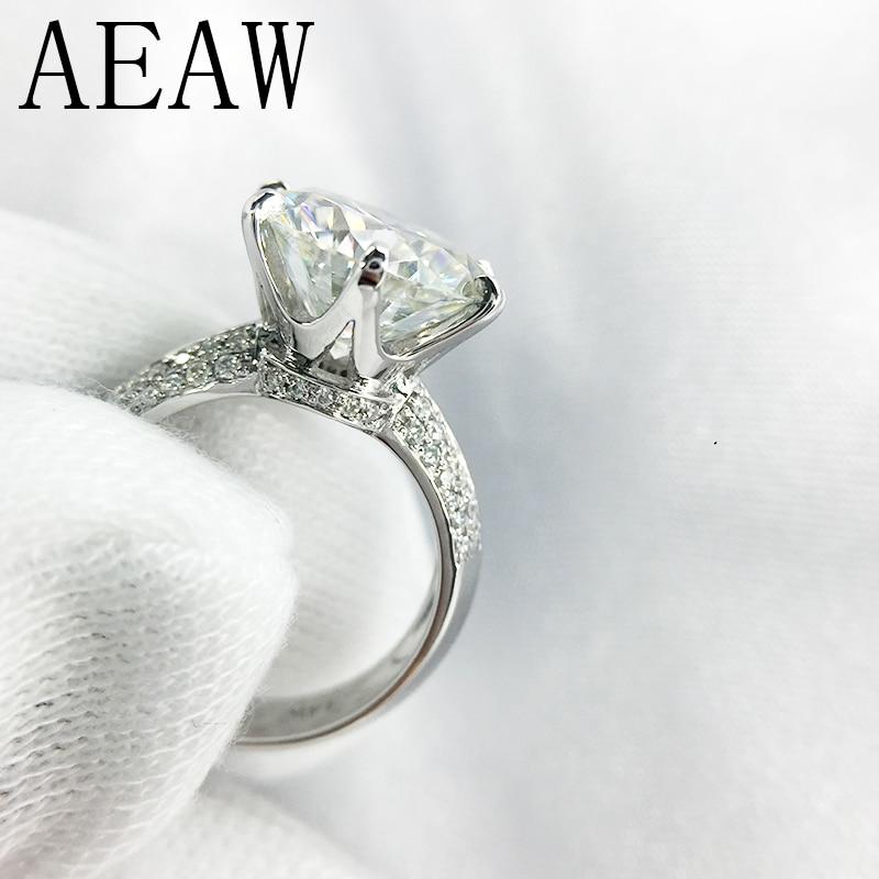 14 K 585 or blanc 3ct Moissanite diamant bague de fiançailles pour les femmes Fine bijoux Center 9mm F couleur Moissanite bague
