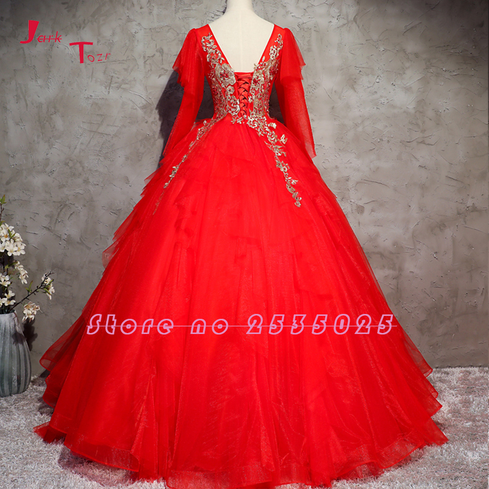 Jark Tozr 2018 New Special V-neck Lace Up Gold Appliques Beading Red Quinceanera Dresses With Petticoat Vestido De 15 Anos