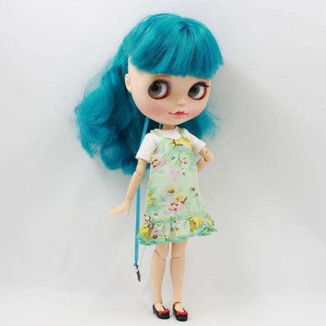 Neo Blythe Doll Green Chiffon Dress & White Shirt