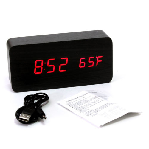 Voice Control Calendar Thermometer Rectangle Wood Wooden LED Digital Alarm Clock USB/AAA Black Wood Red LED