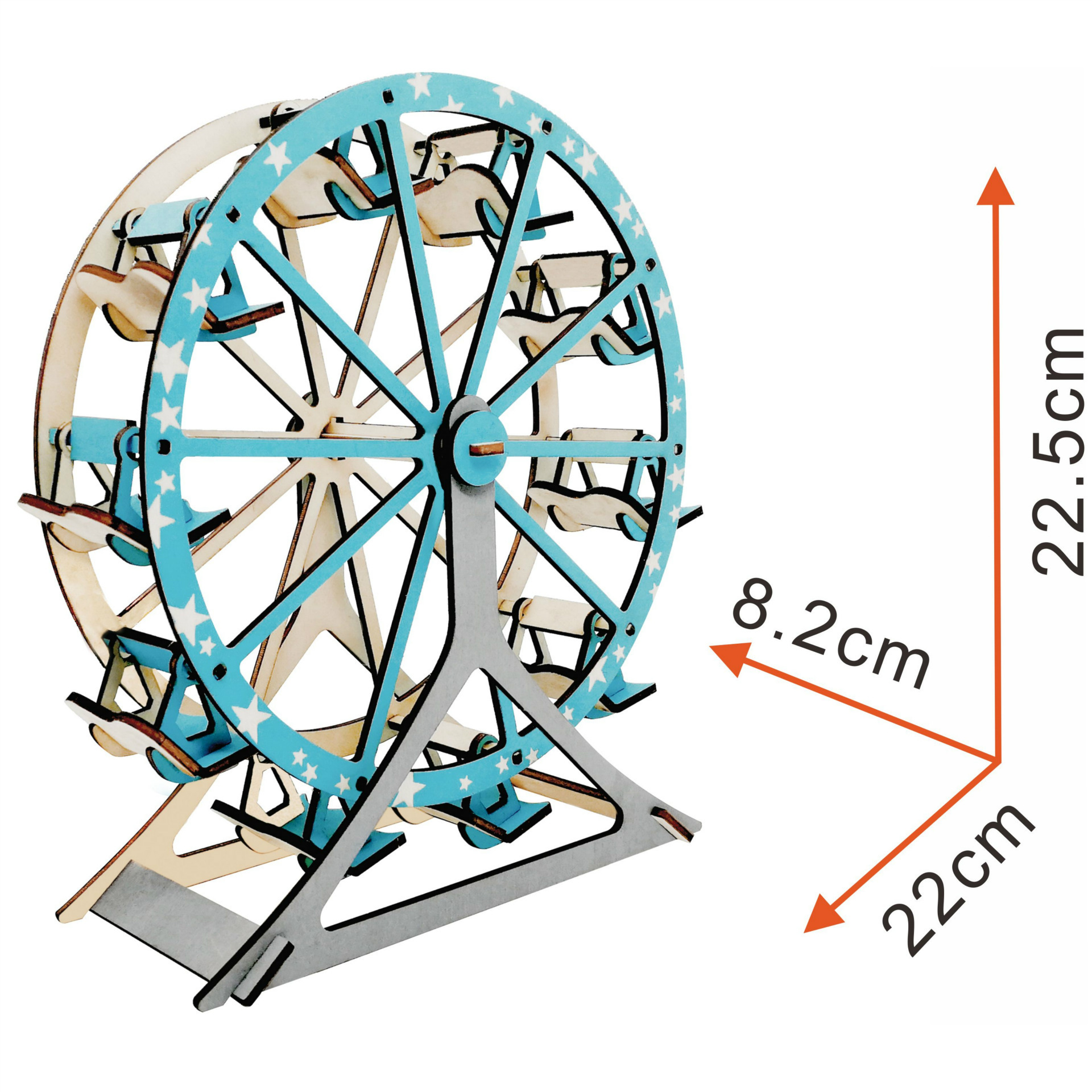 PZ-041 Solar 3D Wooden Puzzle for Teens and Adults,Ferris Wheel,DIY Model Kit
