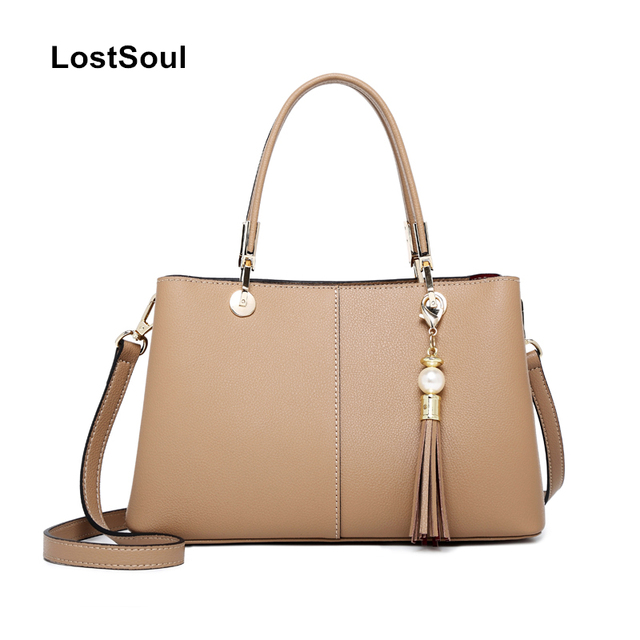 Lostsoul Fashion Cow Leather Women Top Handle Bags Handbag Large Capacity Tassel Handbags Business