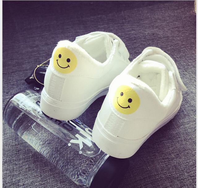 Otoño Invierno de la sonrisa de la Mujer Calzado Casual Chica De Moda Clásico Caminatas Casuales Zapatos de Las Mujeres, además de terciopelo de Algodón acolchado zapatos