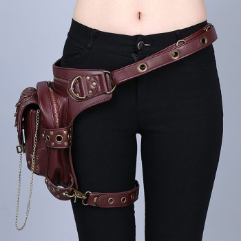 Women/Men Brown Leather Steampunk Mini Waistbag Motorcycle Leg Thigh Holster Bag Party Cosplay