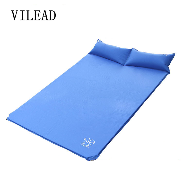 190*130*3cm Automatic Inflatable Pad Double Tent Inflatable Picnic Mat Double PVC Camping Mat with Pillow Mattress Cushion