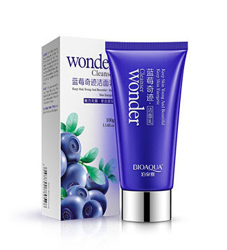 BIOAQUA Brand Blueberry Moisturizing Facial Cleanser Oil Control Shrink Pores to Black Women Deep cleansing Lotion 100g