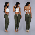 New Fashion Army Green Red Pencil Pants Full Length Casual Women Pants Many Pockets Sexy High Waist Pants Female Girls Trousers