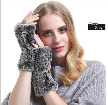 Rabbit hair half gloves in winter stretch knit wrist Fingerless Gloves NEW winter fur
