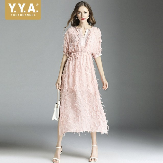 0ccbf0a6aed70 Runway V-Neck Short Sleeve Lace Dress Pink Side Split Sexy Long Dress  Designer Summer Tassels Elegant Fairy Dress Robe Femme