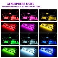 led music 4pcs Car RGB LED Strip Interior Light Multicolor Music Atmosphere Sound Active Function LED Light Strip LED Lighting with Remote (3)