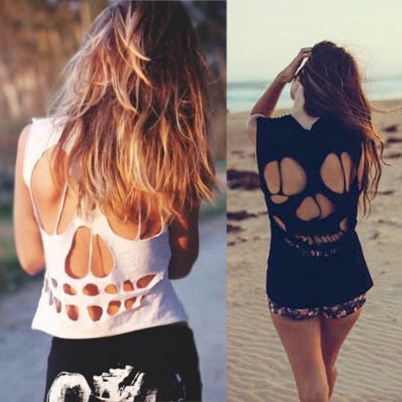 2018 Skull Rock Hollow Out T Shirt Women O Neck Black Women Tops Female White Summer Clothing for Woman Clothe T-shirt Top Tees