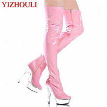 15cm high-heeled shoes sexy over-the-knee long boots crystal stage motorcycle plus size thigh high