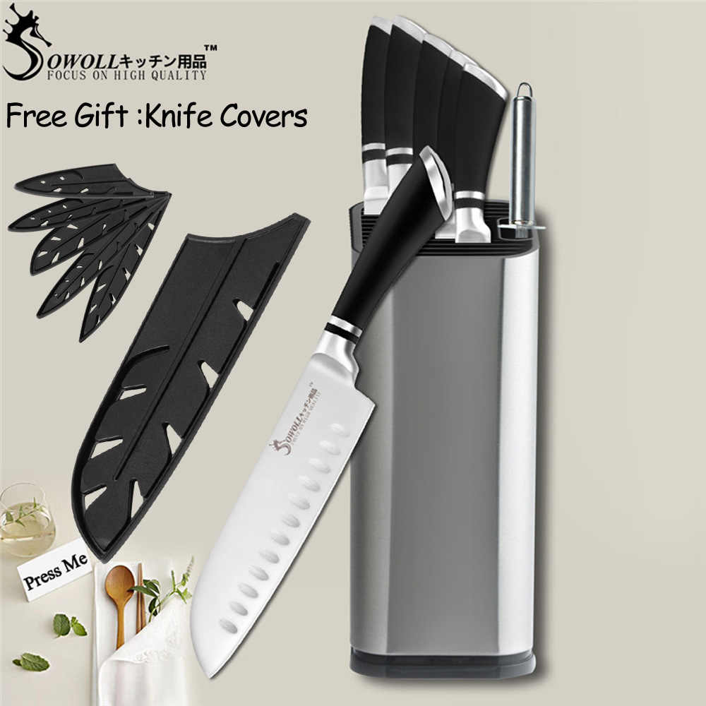 SOWOLL Cooking Tools Stainless Steel Kitchen Knife Japanese Cooking Knife Paring Utility Santoku Chef Slicing Kitchen Knife Set