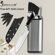 SOWOLL Cooking Tools Stainless Steel Kitchen Knife Japanese Cooking Knife Paring Utility Santoku Chef Slicing Kitchen Knife Set(China)