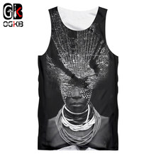 OGKB Nieuwe Zomer Top Vrouwen/mannen 3d Print Afrikaanse Dame Met Ketting Tank Top Sleeveless Tee Shirts Workout fitness Casual Vest(China)