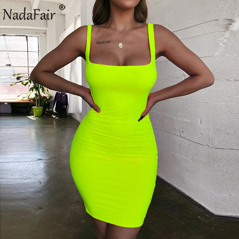Nadafair Off Shoulder Mini Bodycon Summer Dress Women Backless Club Party Sexy Wrap Neon Dress Plus Size Vestidos 2019