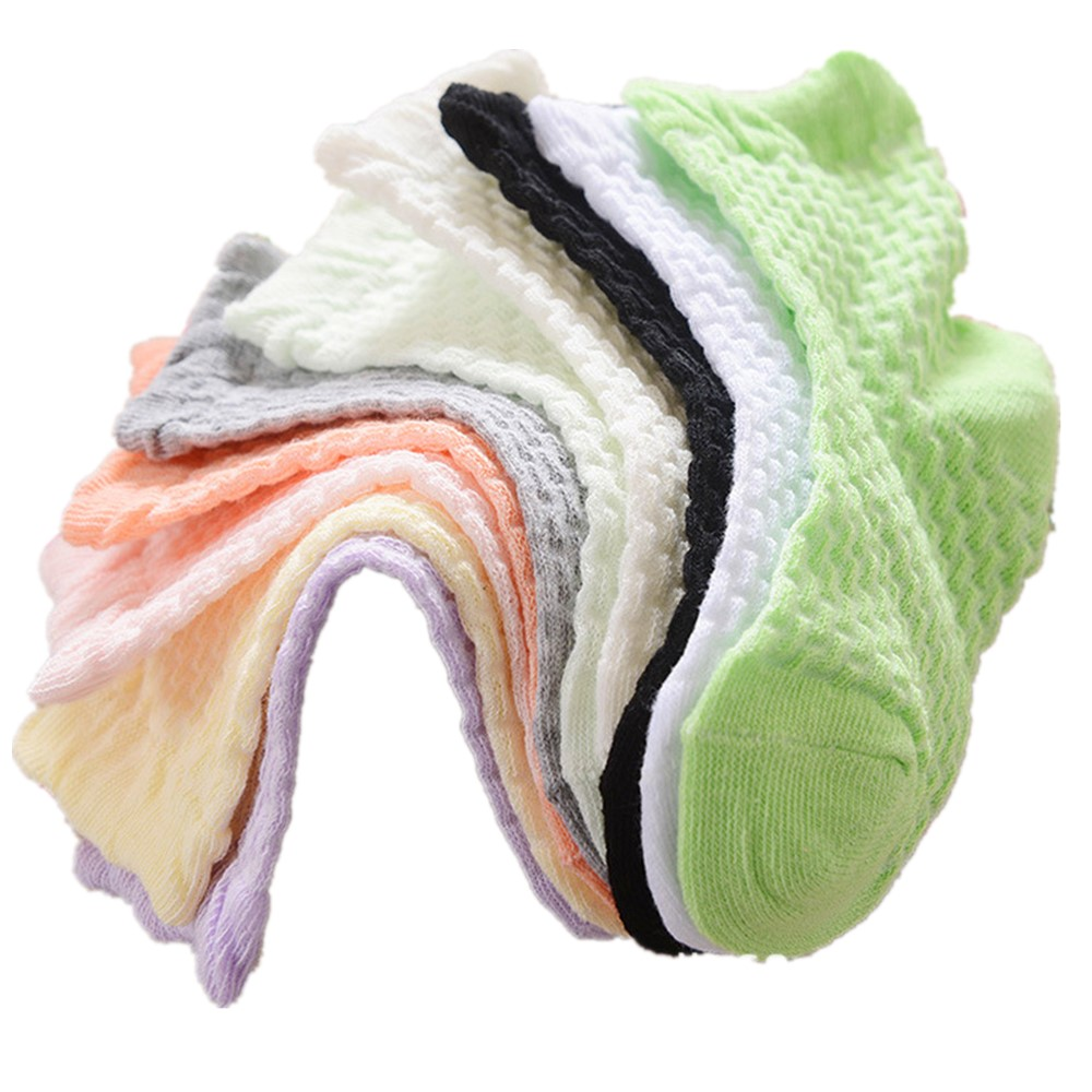 0-12 Years Children Socks 5 Pairs Breathable Baby Girls Hobby Sox Kids Anklets Boys Hose Pure Solid Socks For Girls Pure Solid 1