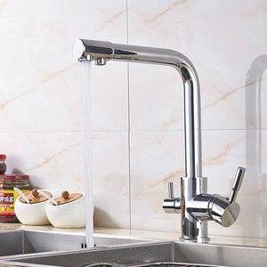 Image 3 - יוקרה Chrome פליז טהור מים מטבח ברז כפול ידית חמה וקר לשתיית מים 3 דרך מסנן מטבח מיקסר ברזים