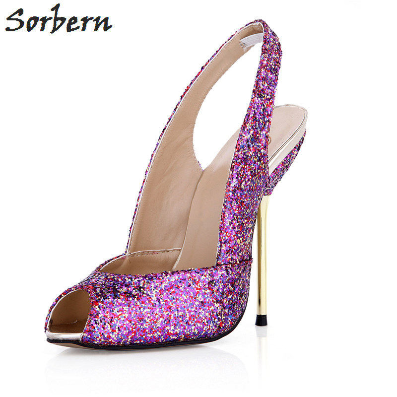 Sorbern Pumps Women 2018 Sequined Cloth Ladies Party Shoes Peep Toe Back Strap Fashion Custom Made Color Shoes Cheap Pump new love live cosplay shoes sonoda umi lonelive anime party boots custom made
