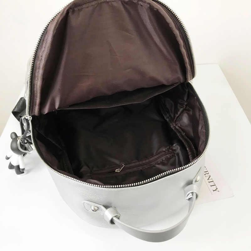 Серебряный цвет мягкий кожаный рюкзак модный стильный рюкзак сумки рюкзаки для девочек-подростков школьные сумки Женская дорожная сумка